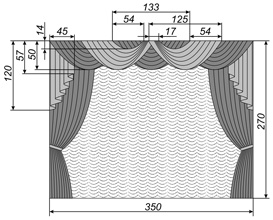 Схема занавеса с ламбрекеном